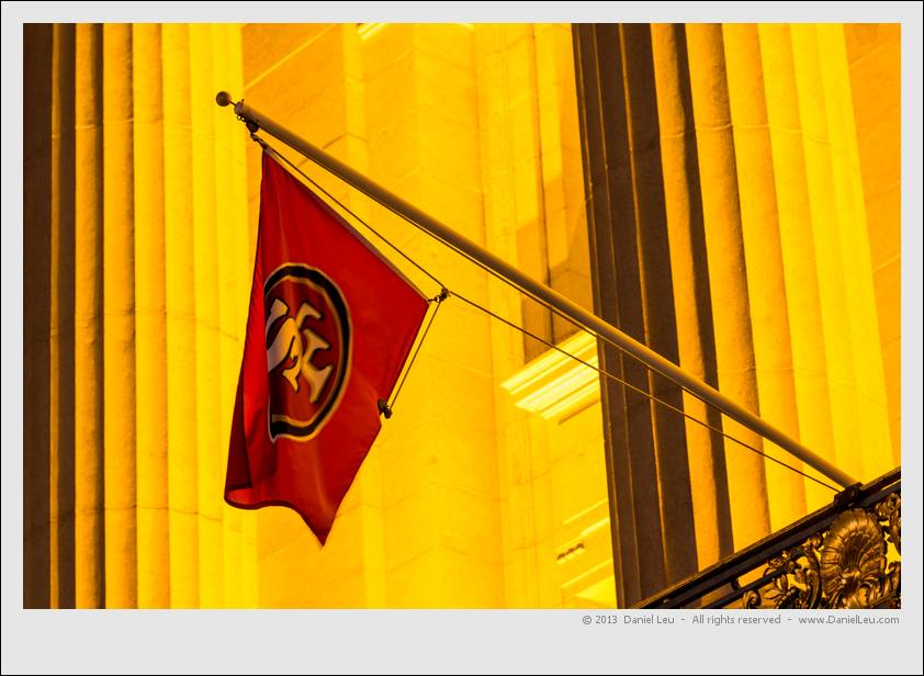 Golden City Hall with SF 49ers flag