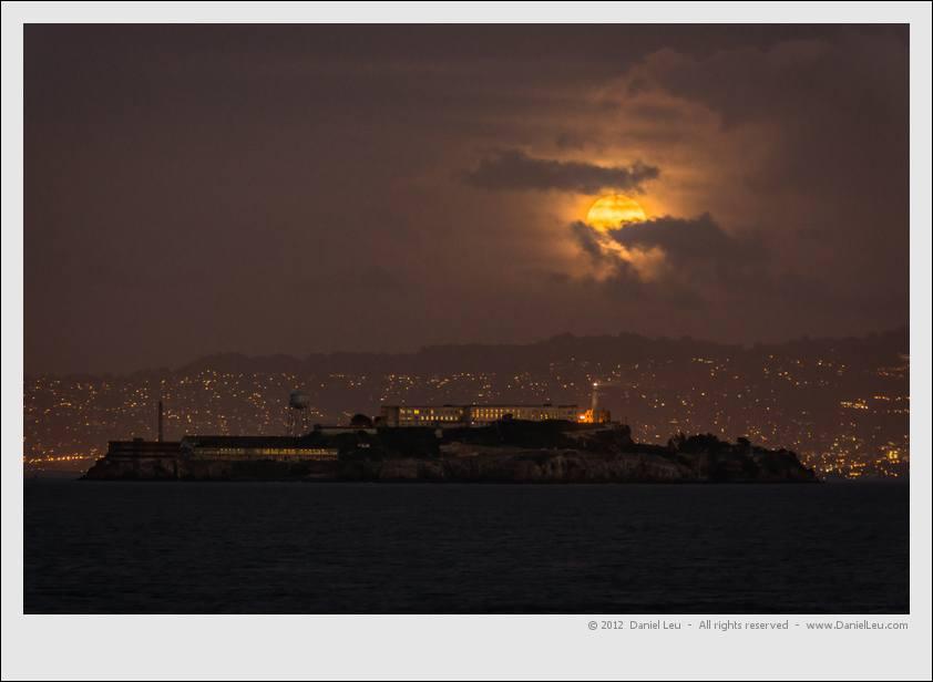 Cloudy full moon over Alcatraz – San Francisco