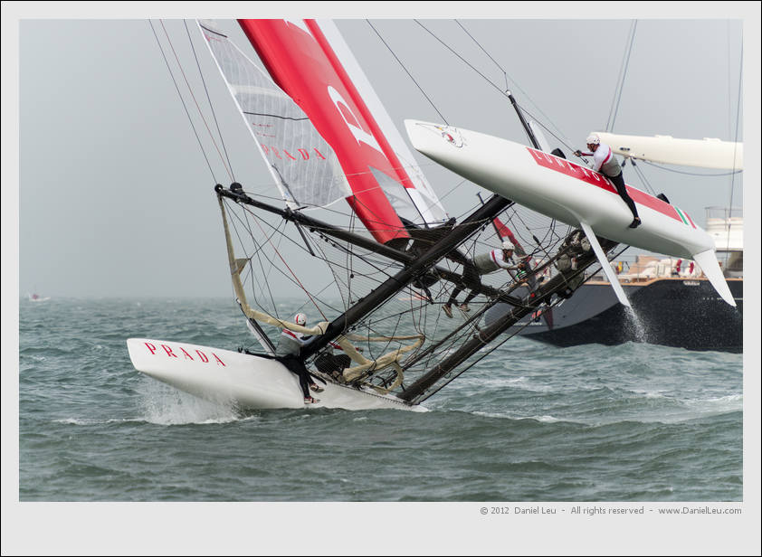 Luna Rossa Swordfish almost capsized. Luckily they were able to keep it up.