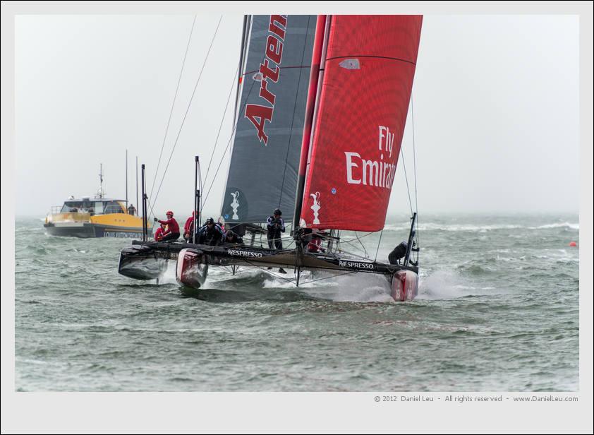 Emirates Team New Zealand ahead of Artemis Red