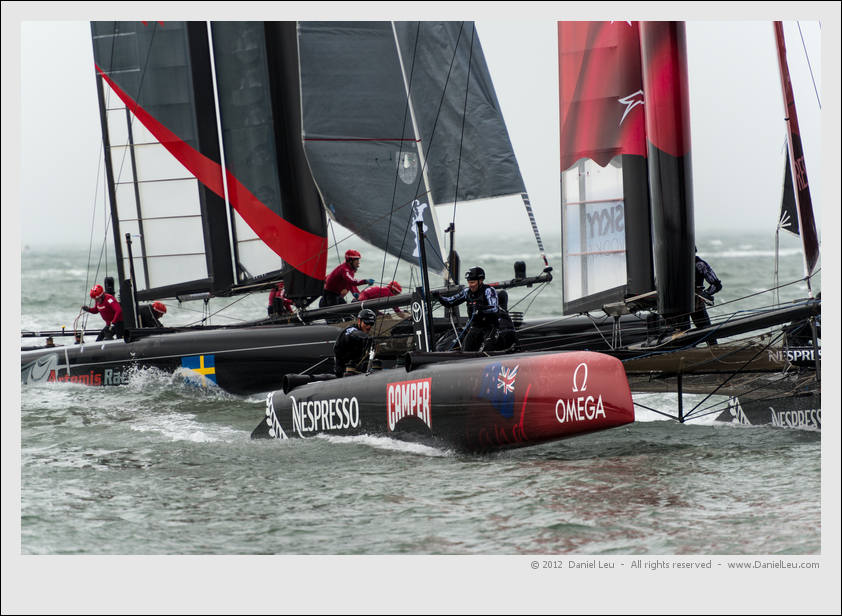 Emirates Team New Zealand and Artemis Red fighting