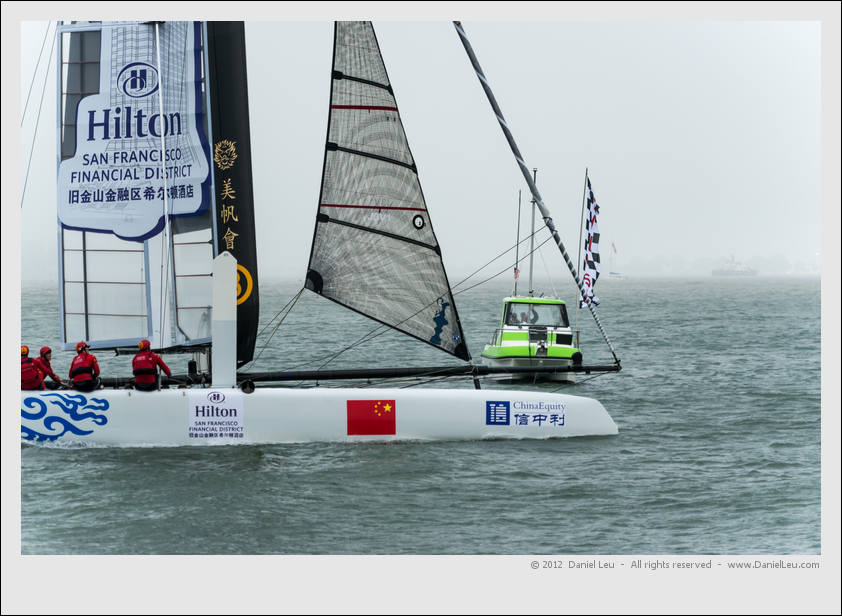 Team China's first match race win, but a wingsail damage prevented them to compete in the next race. Bummer!