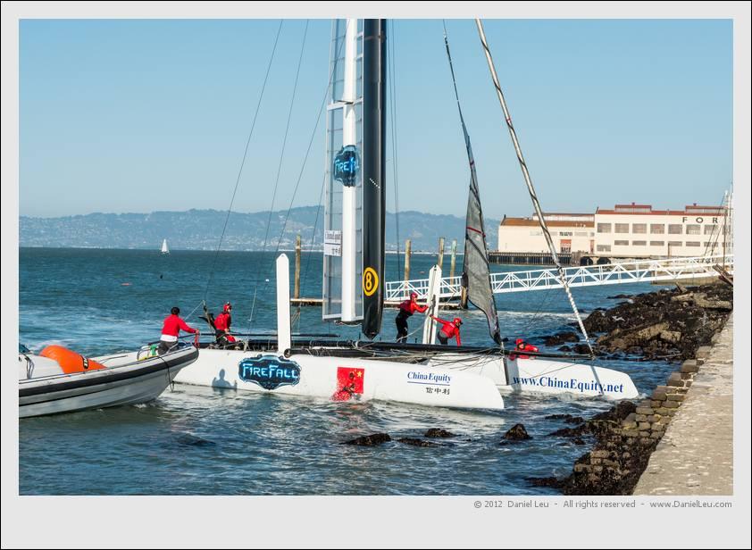 Team China's boat hitting land