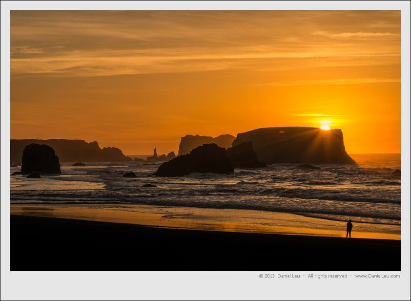 Golden sunset at Bandon beach