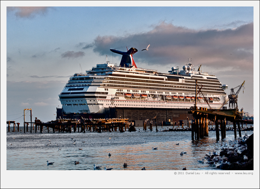 Carnival Splendor behind the remains of pier 64