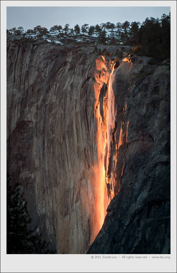 Illuminated Horsetail waterfall in Yosemite (also referred to as fire fall)
