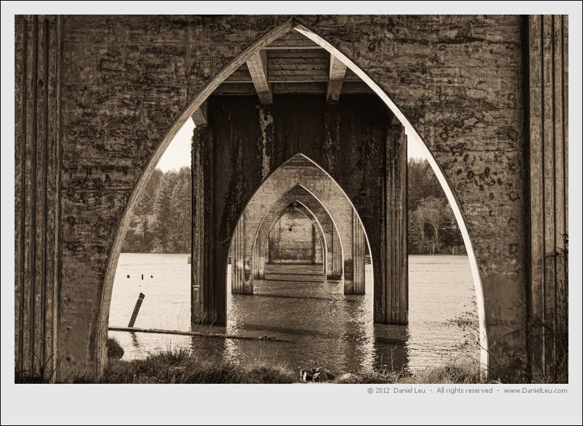 Gothic arches under Siuslaw river bridge