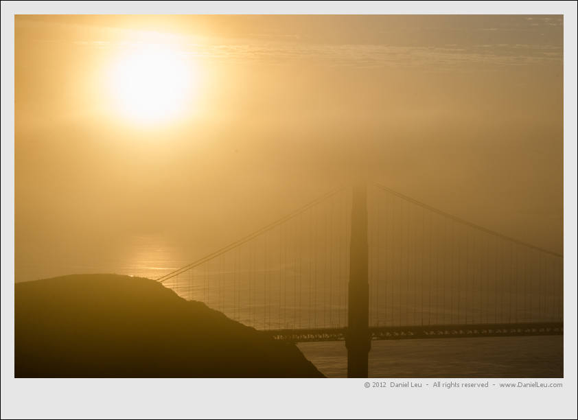 Foggy bridge at sunsrise