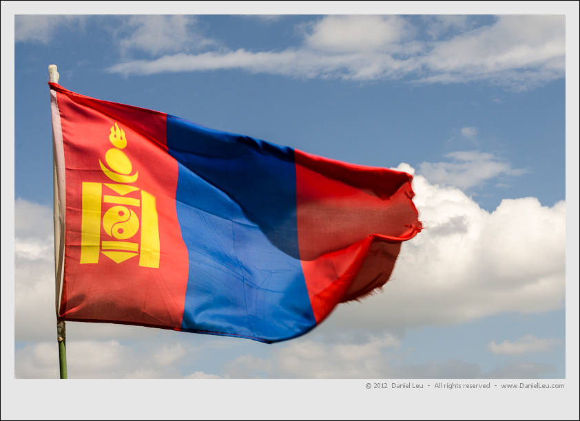 Mongolian flag blowing in the wind