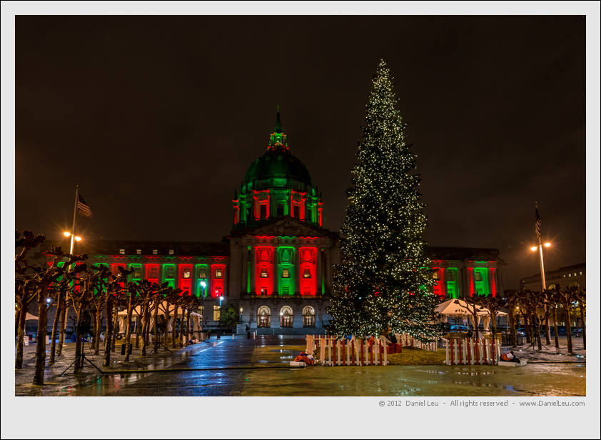 Festive City Hall with Christmas Tree