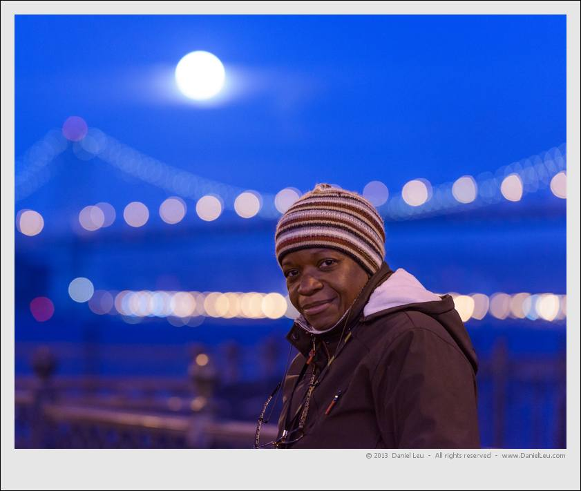 Portrait with full moon and Bay Bridge