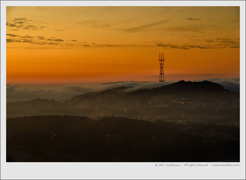 Sutro Tower with glowing sky