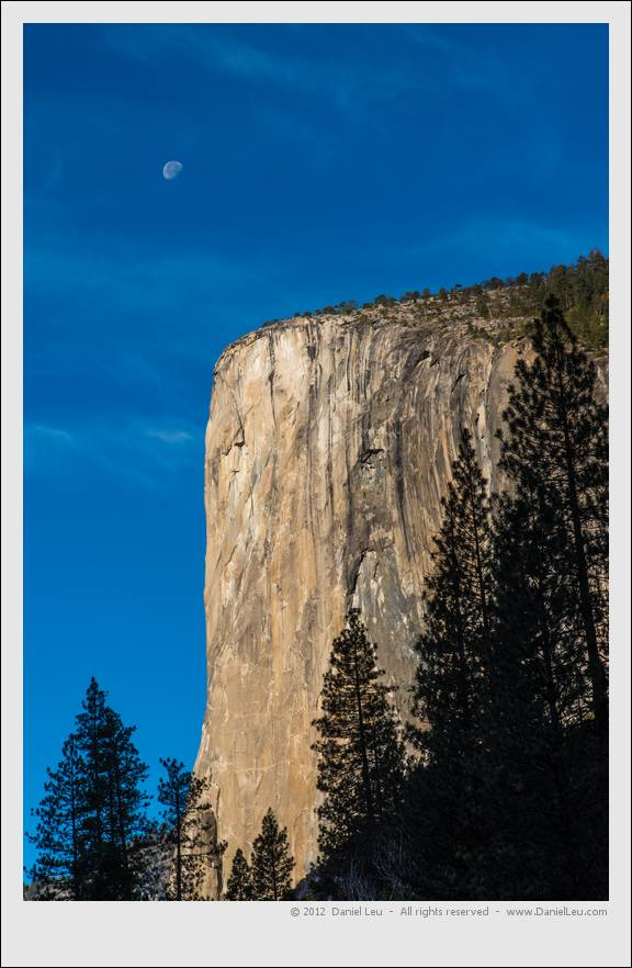 El Capitan with setting moon