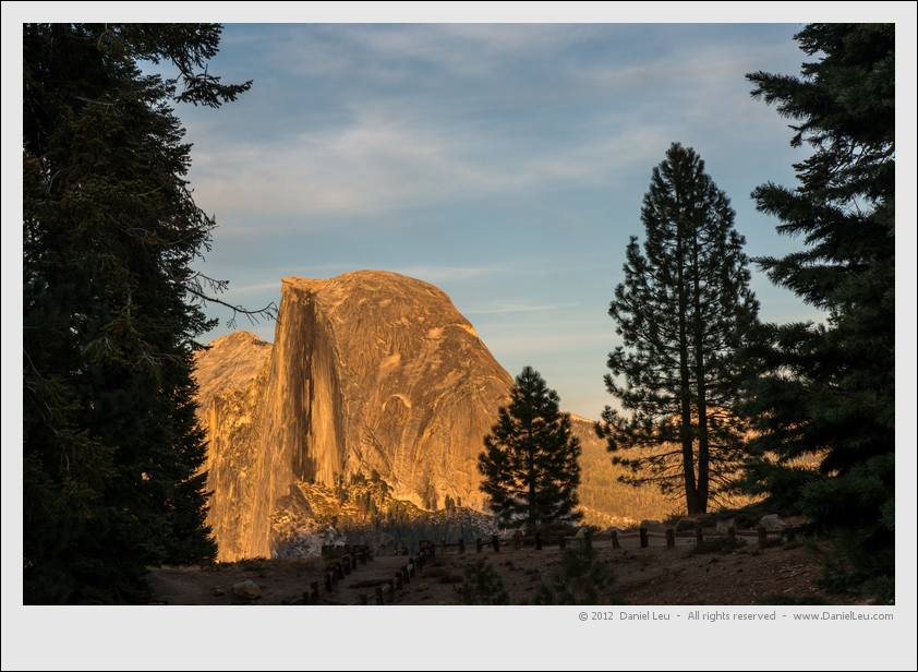 Half Dome lit by setting sun