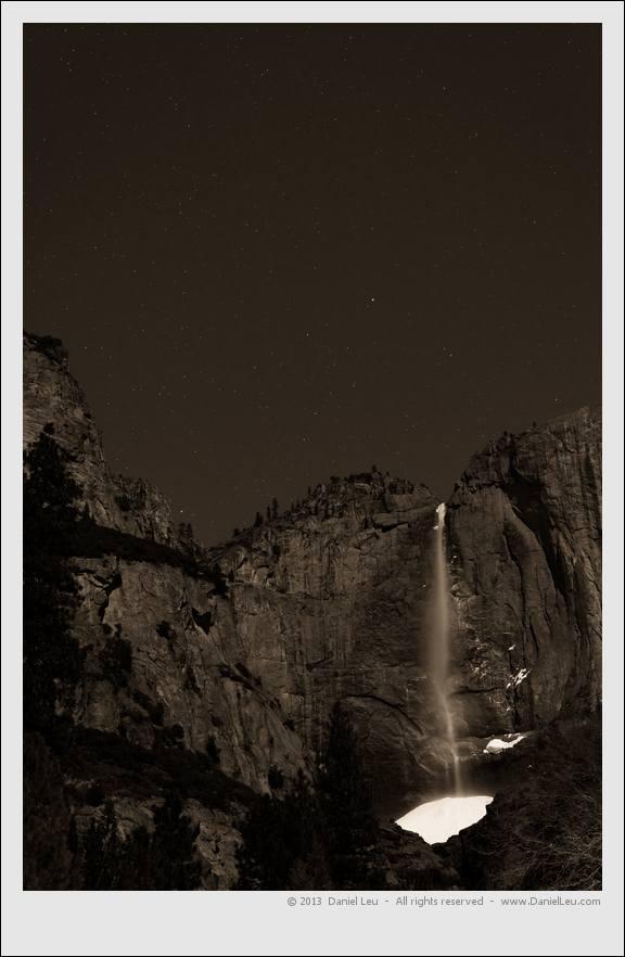 Upper Yosemite Falls at Night