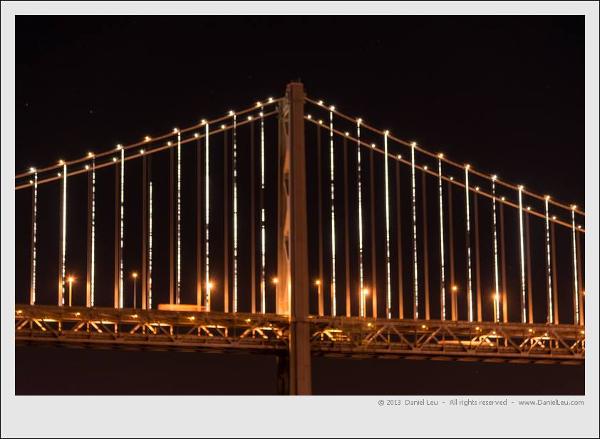 The Bay Bridge with The Bay Lights installation – testing