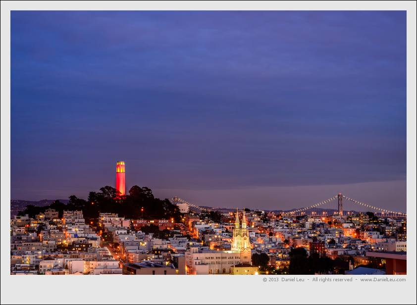 Coit Tower with Saints Peter and Paul church in North Beach