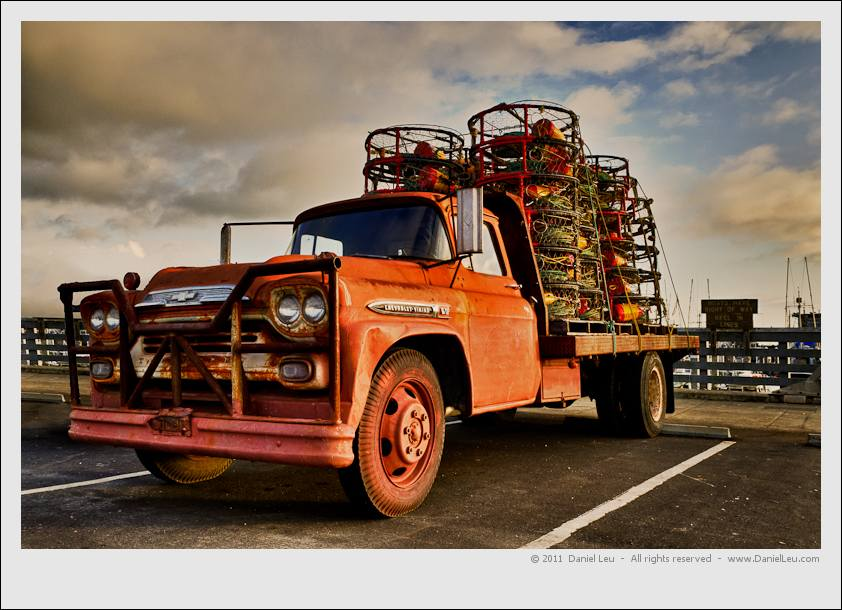 Old chevy truck loaded with crab traps