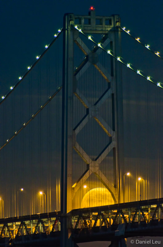 Bay Bridge with peeking full moon