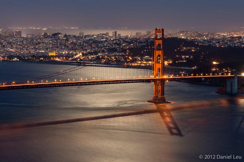 Golden Gate Bridge Tower in Moon Light