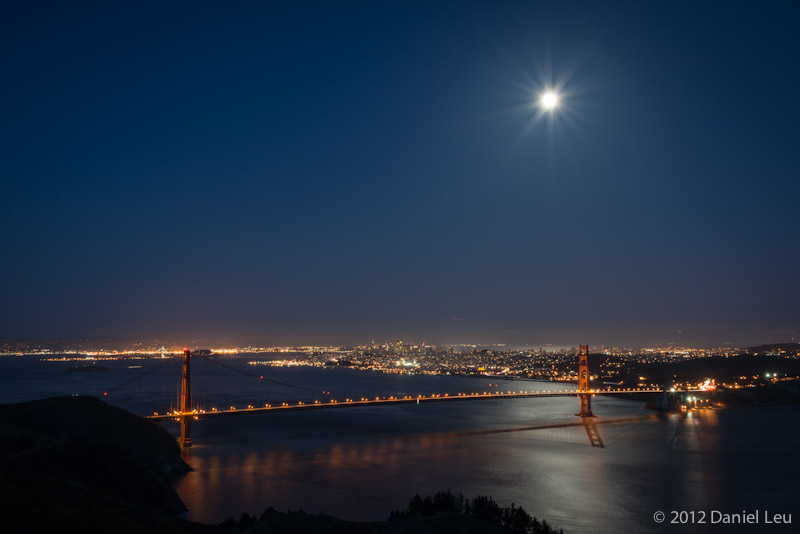 San Francisco with Golden Gate Bridge and bright Moon