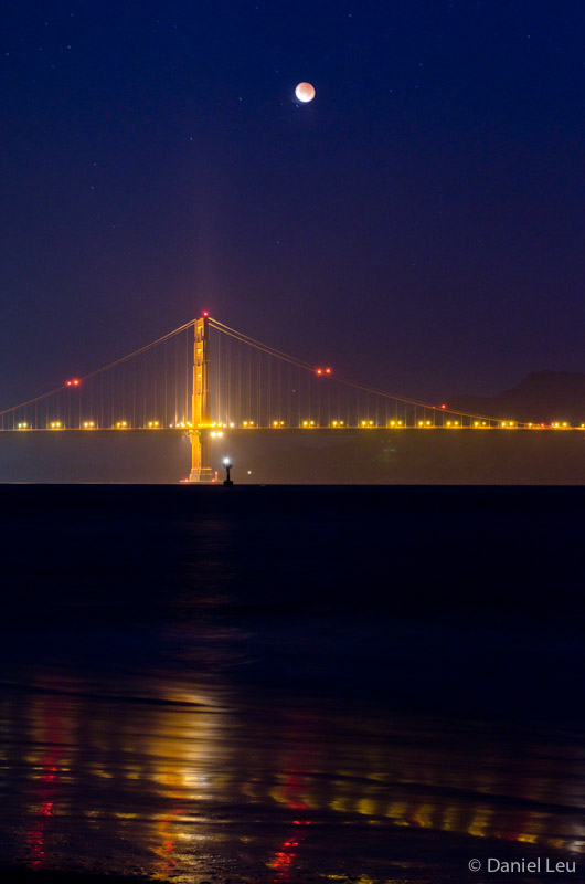 Lunar Eclipse and Golden Gate Bridge with Reflection