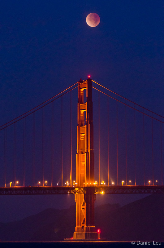 Golden Gate Bridge Tower with Eclipsed Moon