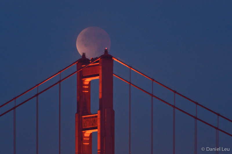 Lunar Eclipse over Golden Gate Bridge Tower