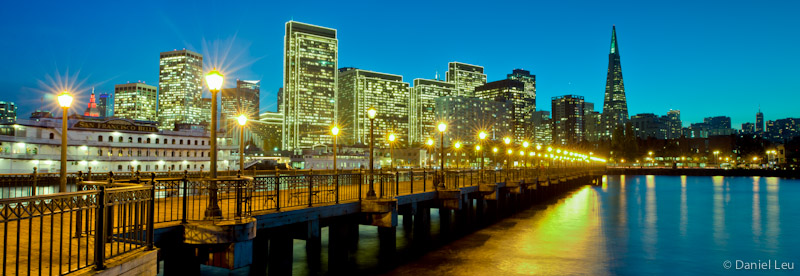 San Francisco Waterfront with Holiday Lights
