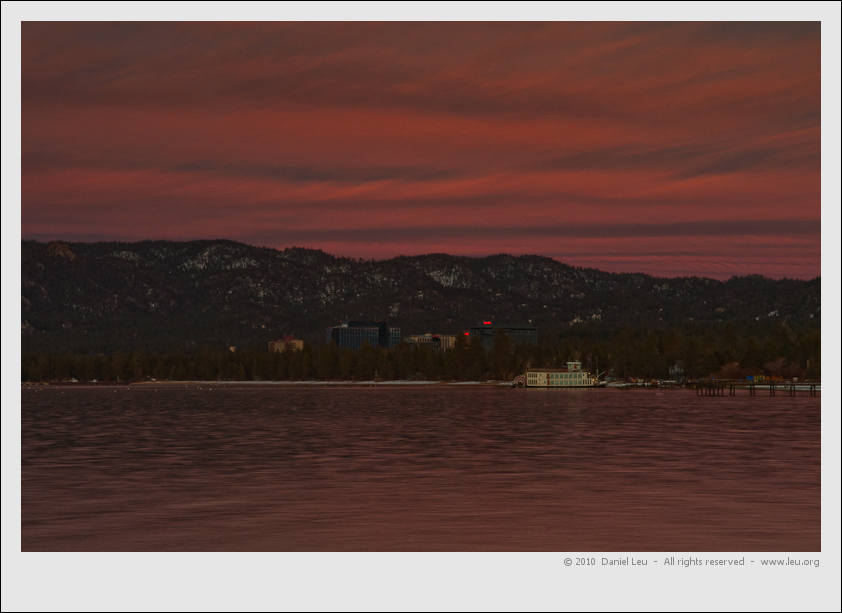 Tahoe Queen with the Stateline casinos in the background