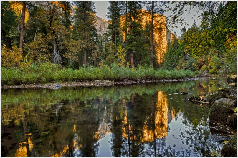 Merced River with El Capitan and its reflection