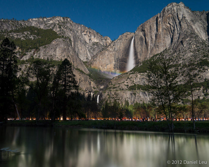 Yosemite Falls with Moonbow and Reflection